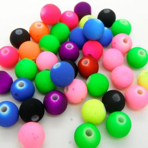 50 X mixtos De Neón Color Granos De Goma Mira Pulsera 8x8mm Collar para que las embarcaciones