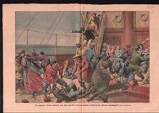Bandits Khoungouzes Tunguses navire à vapeur steamship Russia 1910 ILLUSTRATION