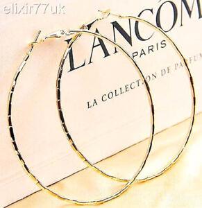 Image Is Loading New Pair Of Gold Hoop Earrings Huge