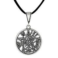 Sterling Silver Tetragrammaton Pentagram Pagan Wiccan Pendant 27mm | Made In Usa