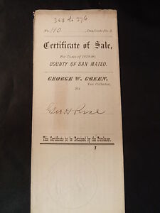 Antique 1880 CERTIFICATE OF SALE TO ANTOINE BOREL TO SATISFY TAXES SAN MATEO CA