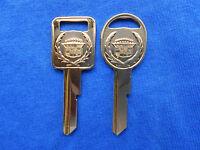 2 Vintage Cadillac Crest Gold Key Blanks 71 75 79 83 84 85 86