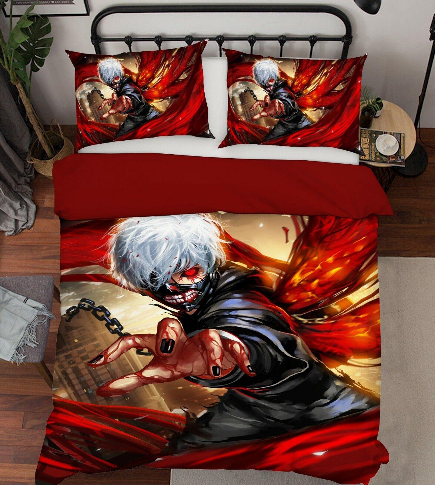 3D Tokyo Ghoul 870 Japan Anime Bed Pillowcases Quilt Duvet Cover Set Single