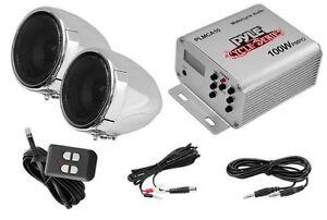 NEW-Pyle-PLMCA10-100W-Motorcycle-Mount-MP3-Ipod-Amplifier-Speakers-w-FM-Radio