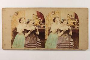 """"""" Banconota Morbido """" Giorno Di San Valentin Foto Stereo Vintage Albumina c1860"""