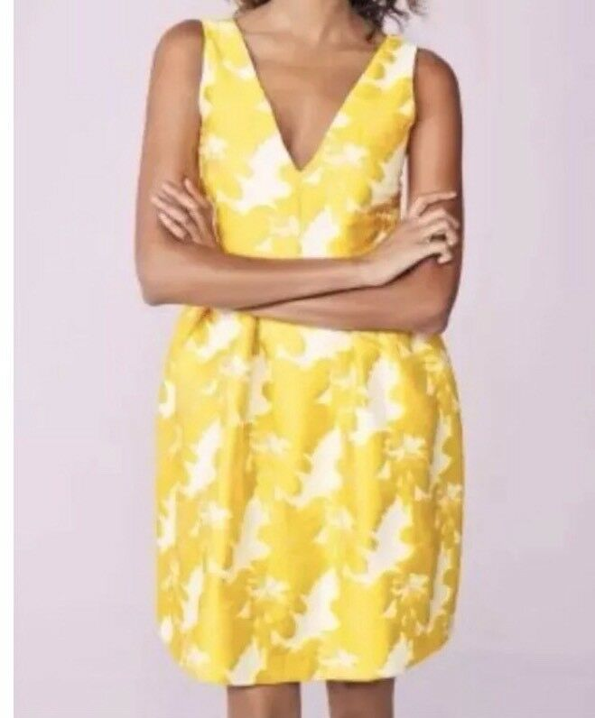 BNWTNext Size 14 Yellow Mustard Jacquard Occasion Dress New Tagged