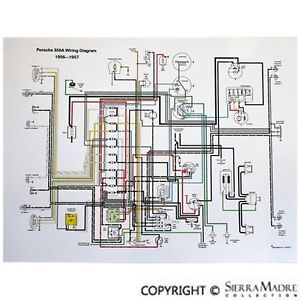 Full Color Wiring Diagram, Porsche 356(T1) (1956-Early 1957), Beehive  Taillights | eBay