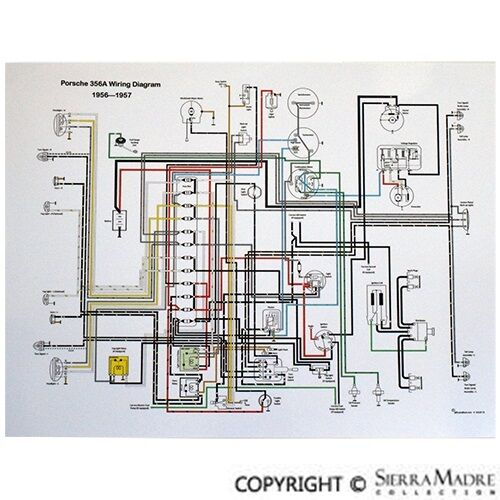 Full Color Wiring Diagram  Porsche 356 T1   1956