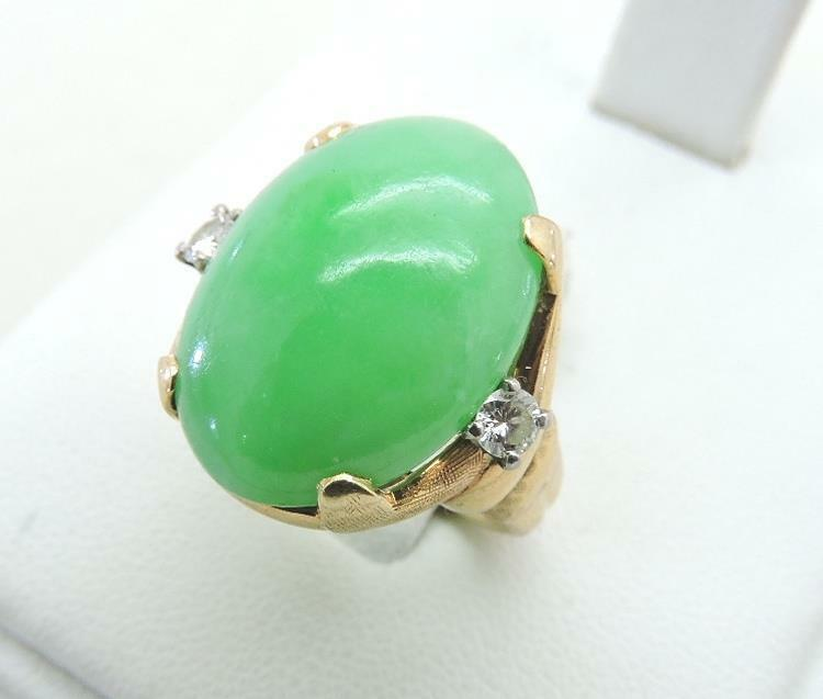 14K Yellow gold Large 20 x15 mm Natural Green Jade Diamond Ring Size 7 Cabochon