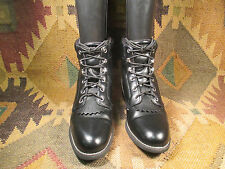 JUSTIN  BLACK WESTERN ENGINEER LACE UP KILTIE GRANNY BOOTS 8C made in China