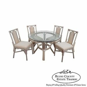 Rattan Bamboo Round Glass Top Dining Table Amp 4 Chair Set