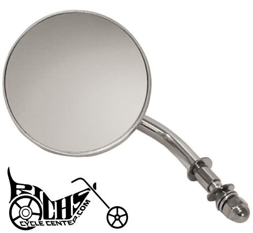 Chrome 4 Round Mirror Fits Big Twin & Sportster models, left or right - 47010