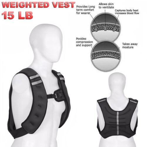 environ 6.80 kg 15 lb pondéré Gilet Veste Réglable d/'Entraînement Poids Exercice Entraînement Taille US