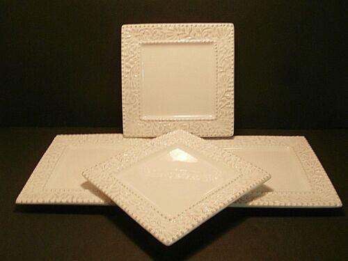 American Atelier Bianca Leaf Salad Plates Square White Raised Design--Lot of 4!!