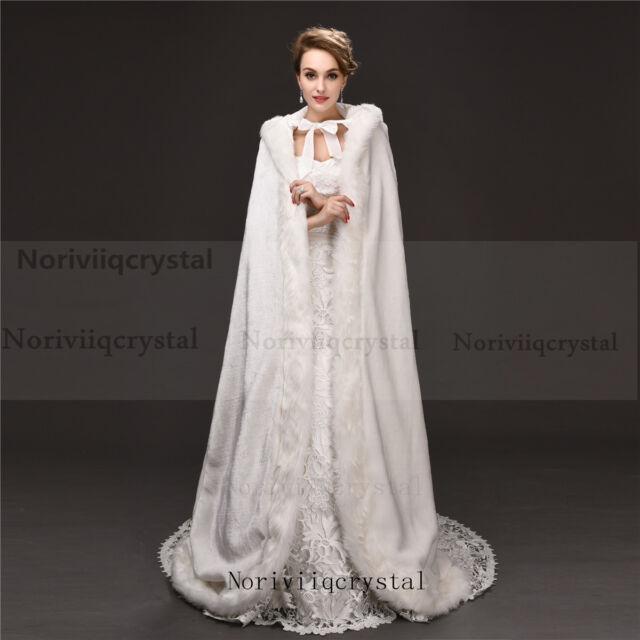Faux Fur Long Wedding Cape Warm Women Jacket Bridal Coat Princess Cloaks