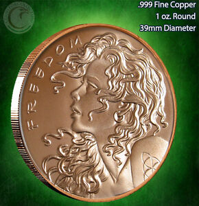 "/""2013 Freedom Girl/"" Copper Round 1 oz .999 Very Limited and Rare Single Sided"