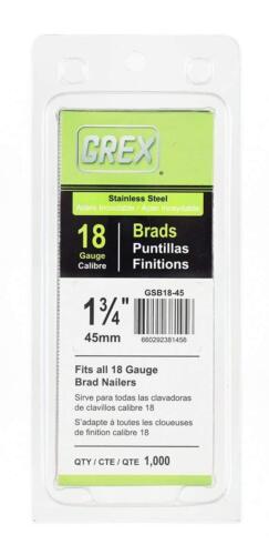 """Grex GSB18-45 18 Gauge Stainless Steel 1-3//4/"""" Length Brad Nails 1,000per Pack"""