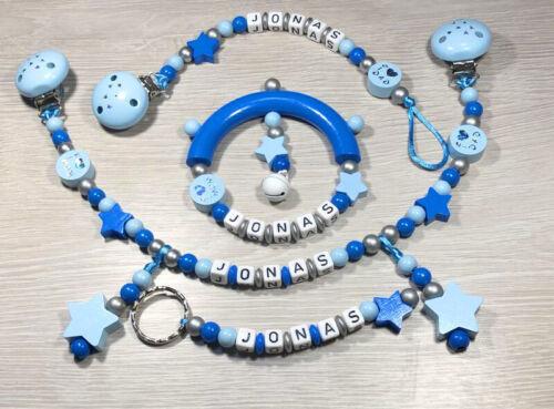 Schlüsselanhänger mit Wunschnamen Greifling Set Schnuller-Kinderwagenkette