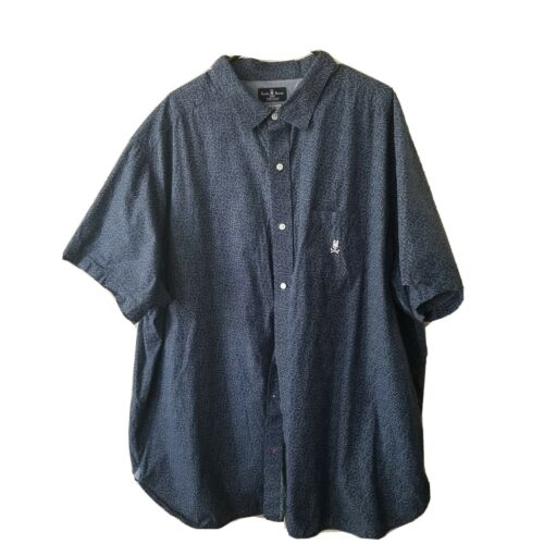 Psycho Bunny Top Blue Button Up Short Sleeve Polo