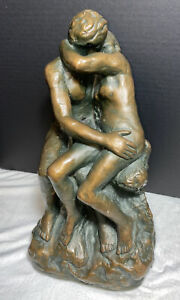 Vintage-Marwal-Bronze-Tone-Chalkware-Sculpture-Statue-Nude-Lovers-12-039-039
