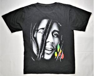 Bob-Marley-T-Shirt-Black-L-Reggae-Music-2-Sided-Print-Rasta-Weed-Jamaica-Singer