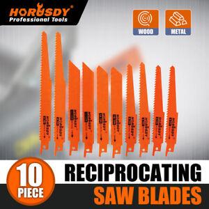 New-10Pc-Reciprocating-Saw-Blades-Set-Cutting-Wood-Metal-Timber-Demolition-Tool