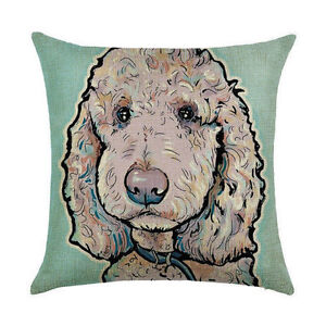 STANDARD-POODLE-DOG-on-BLUE-LINEN-COTTON-Painting-CUSHION-COVER-Cockapoo-UK-sale