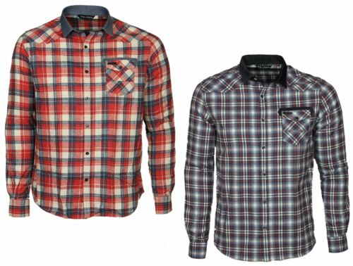 XL MENS BRAND NEW ETO CHECK SHIRT LONG SLEEVE SLIM FIT RED BLUE CHECKED S