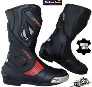Rojo-y-Negro-alta-tecnologia-para-Hombre-Moto-Motocicleta-CE-Racing-De-Cuero-Zapatos-Botas