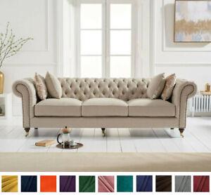 New Chesterfield Sofa Beige Linen