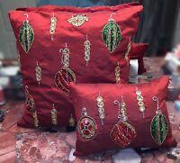Kim Seybert Neiman Marcus Red Beaded Holiday Christmas Ornaments Pillows