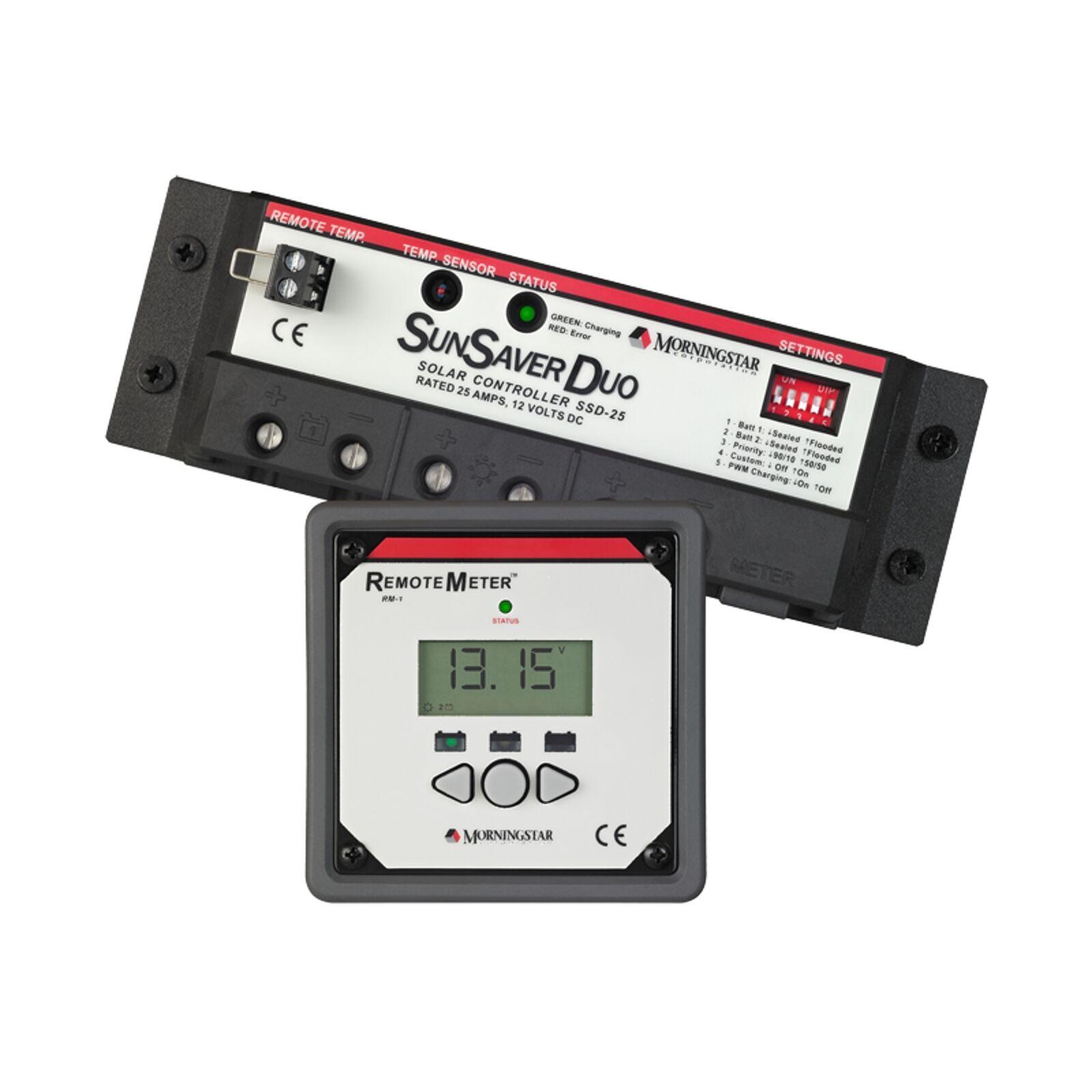 Morningstar SunSaver Duo 25A 12V 12V 12V dual battery solar charge controller regulator 01ba7d