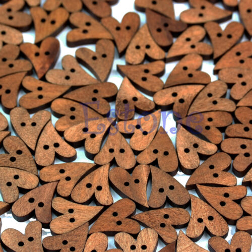 100pcs New Wood Wooden Sewing Lovely Heart Shape Button Craft Scrapbooking Brown