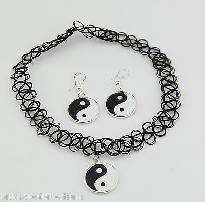 hot 1 set Yin and Yang Tattoo Choker Elastic Necklace Pendant earring