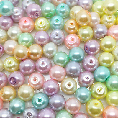 VARIOUS COLOURS AVAILABLE 100 MIXED COLOURED GLASS PEARL 8MM CRAFT BEADS