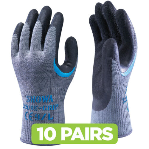 Scaffolder Reinforced Latex Coated 10 x Pairs of SHOWA 330 Re-Grip Work Gloves