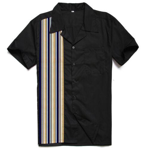 Men/'s Rockabilly Shirt With Stripe Printed Retro Beach Style Camp Shirts