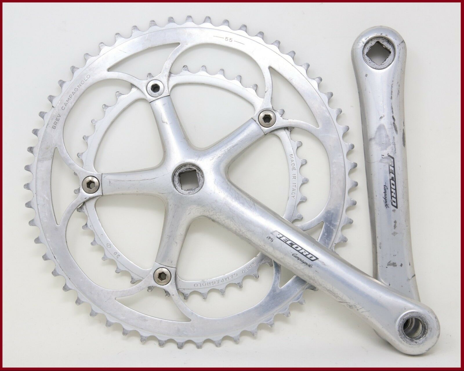 CAMPAGNOLO RECORD 10S CRANKSET  175mm 55 39 VINTAGE 90s SQUARE TAPER TIME TRIAL  the latest