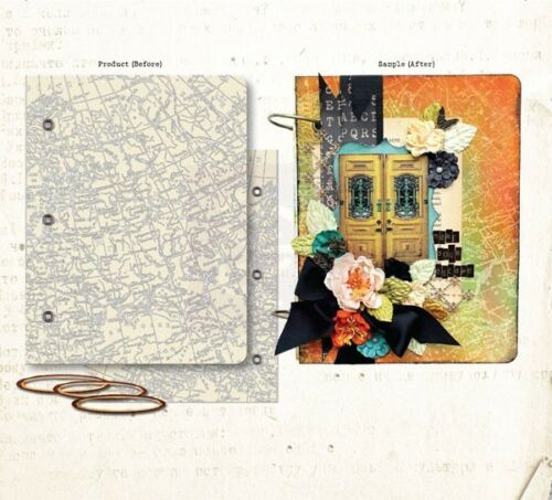"""Prima New  7.5/"""" x 9.75/"""" resist canvas mixed media book covers with rings"""