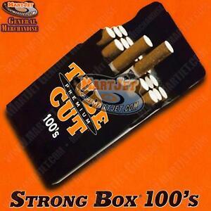 NEW 100mm Black Strong-Box Flip Cigarette Case Long 100s Hard Crushproof Plastic