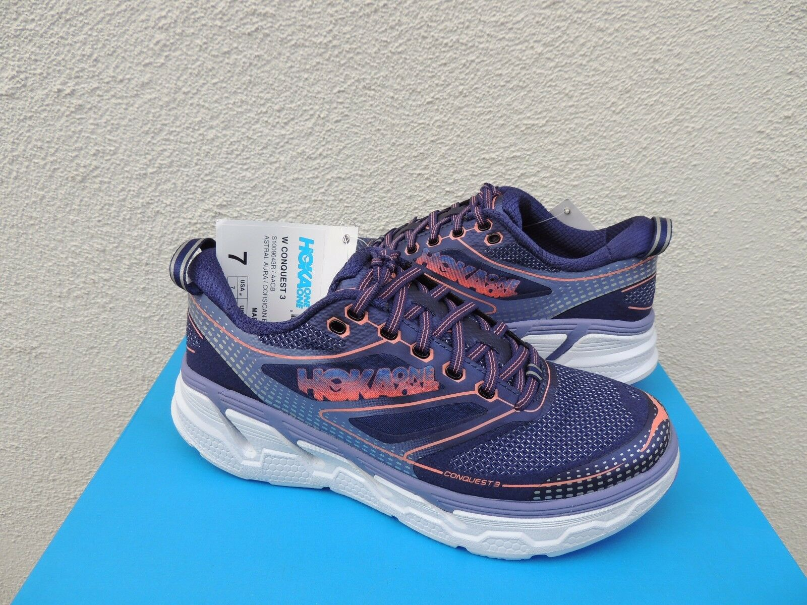 HOKA ONE ONE CONQUEST 3 ASTRAL BLUE AURA/ BLUE ASTRAL RUNNING SHOES, US 7/ EUR 38 2/3  ~ NWT 6402f5