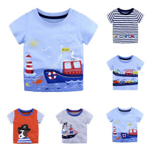 Summer-Infant-Baby-Kids-Boys-Girls-T-Shirts-Cartoon-Print-T-Shirts-Tops-Outfits