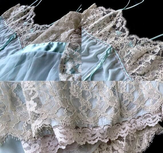 VINTAGE LUCIE ANN LONG FULL SWEEP NYLON & LACE NI… - image 4