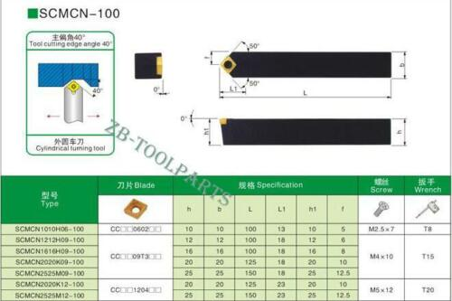40 Degrees 16x100mm screw type Cylindrical turning tool SCMCN1616H09-100