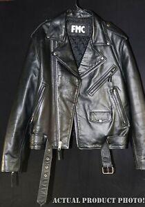 FMC-Black-Heavy-Leather-Belted-Motorcycle-Biker-Jacket-Full-Zip-Mens-46-Damage