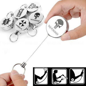 Retractable-Metal-Key-Chain-Card-Badge-Holder-Steel-Recoil-Ring-Belt-Clip