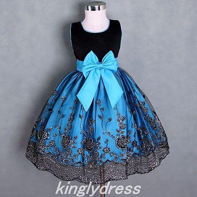 NEW Flower Girl Birthday Pageant Wedding Dress Black Blue SZ 18M -13 Years Z172