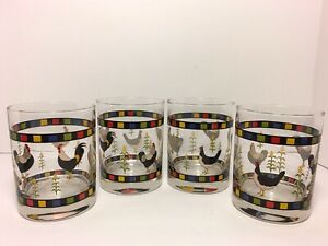 Warren-Kimble-Double-Old-Fashioned-Rooster-Design-Glasses-Set-Of-4