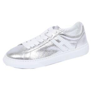 1143J sneaker donna silver HOGAN H365 scarpe H glitter shoe woman ...