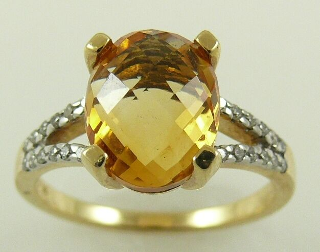 Citrine Ring 3.08ct  14k Yellow gold with Diamonds 0.19ct
